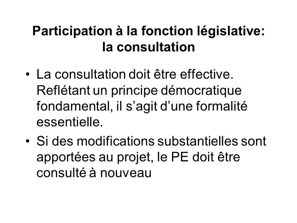 Participation à la fonction législative: la consultation La consultation doit être effective. Reflétant un principe démocratique fondamental, il sagit
