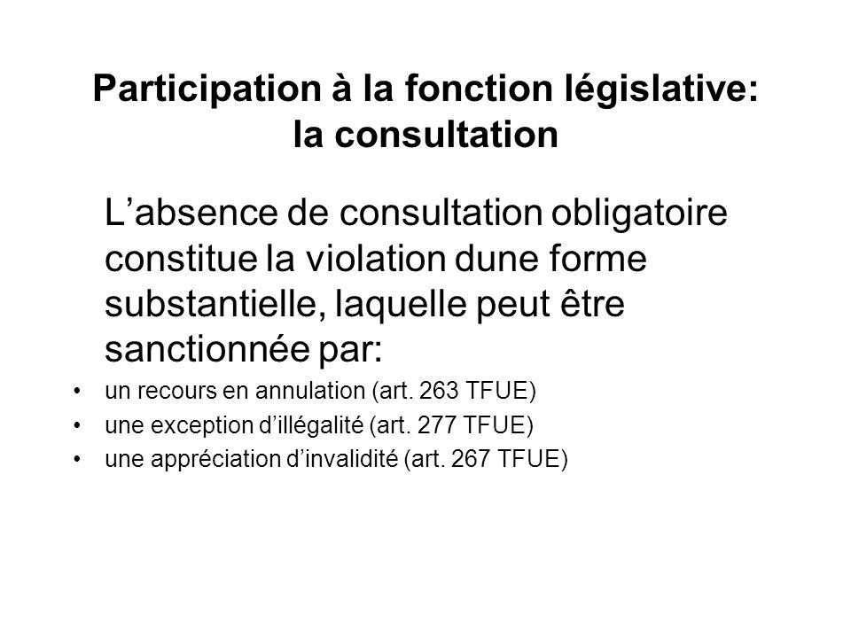 Participation à la fonction législative: la consultation Labsence de consultation obligatoire constitue la violation dune forme substantielle, laquell