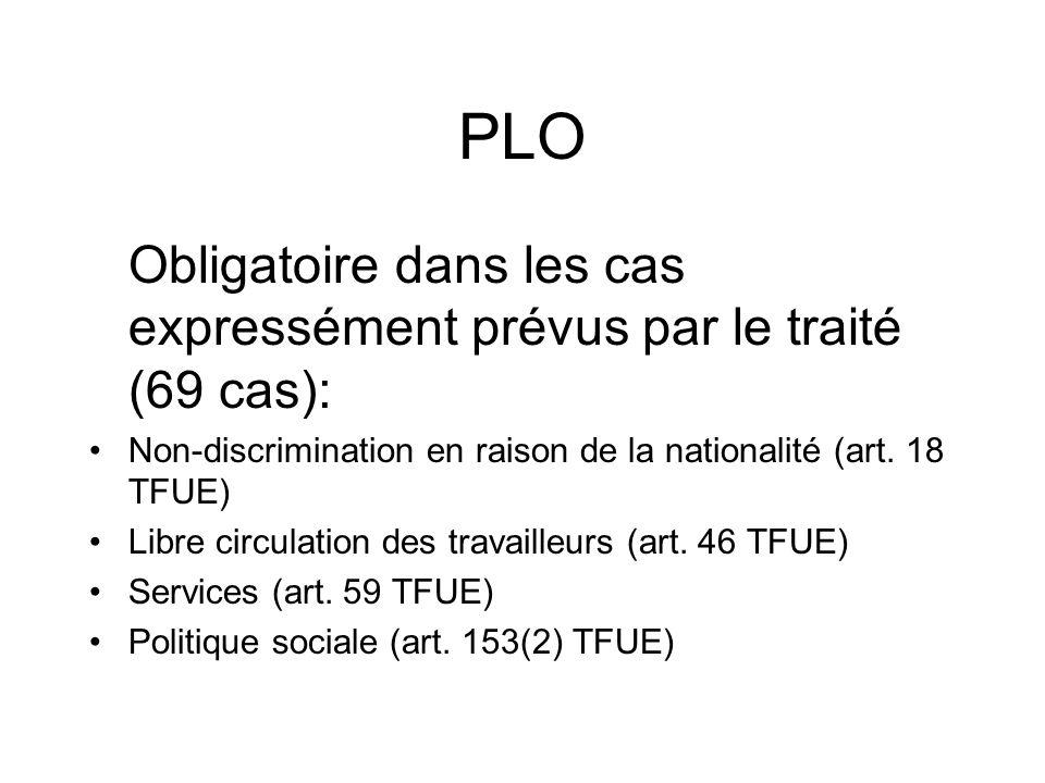 PLO Obligatoire dans les cas expressément prévus par le traité (69 cas): Non-discrimination en raison de la nationalité (art. 18 TFUE) Libre circulati