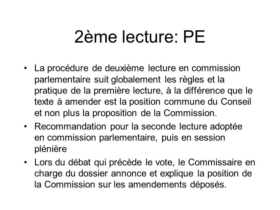 2ème lecture: PE La procédure de deuxième lecture en commission parlementaire suit globalement les règles et la pratique de la première lecture, à la