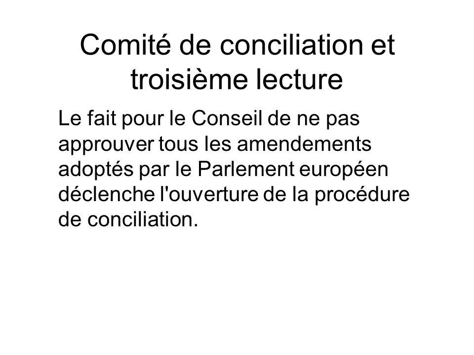 Comité de conciliation et troisième lecture Le fait pour le Conseil de ne pas approuver tous les amendements adoptés par le Parlement européen déclenc