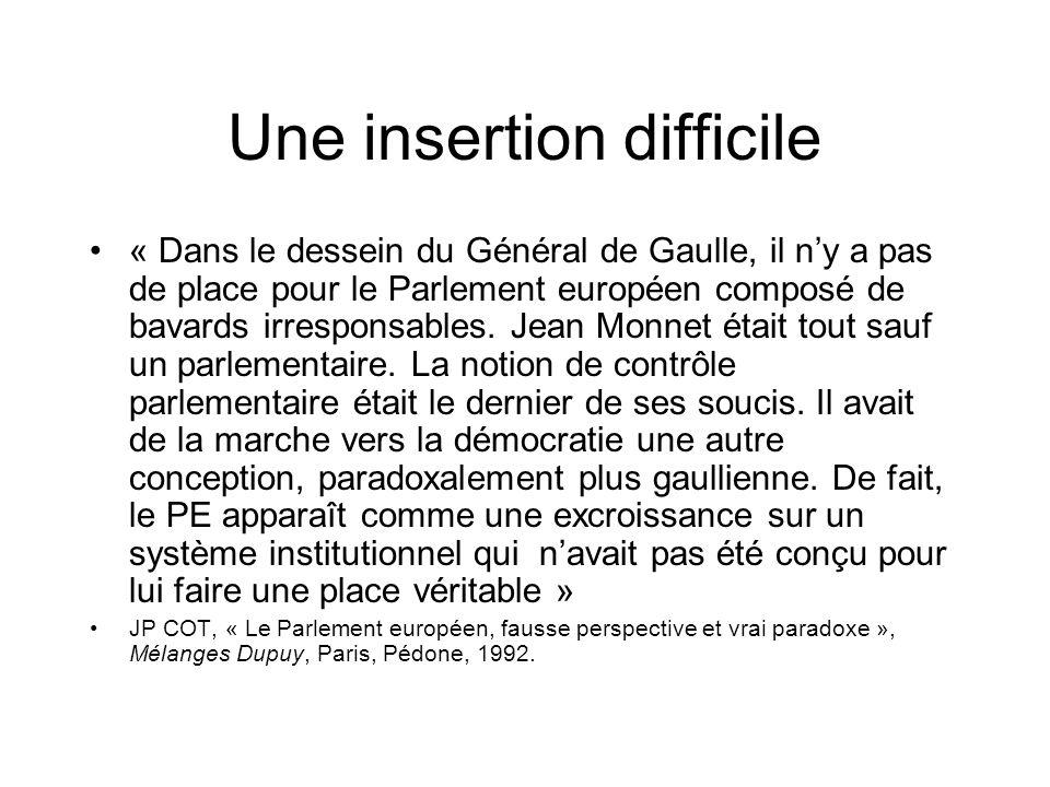 Une insertion difficile « Dans le dessein du Général de Gaulle, il ny a pas de place pour le Parlement européen composé de bavards irresponsables. Jea