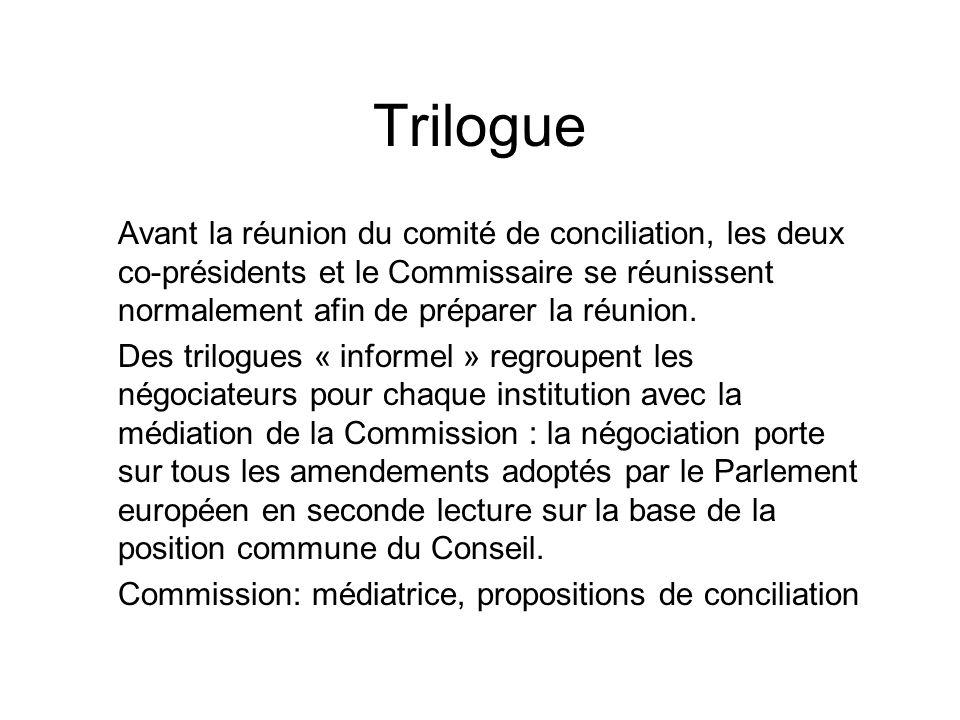 Trilogue Avant la réunion du comité de conciliation, les deux co-présidents et le Commissaire se réunissent normalement afin de préparer la réunion. D