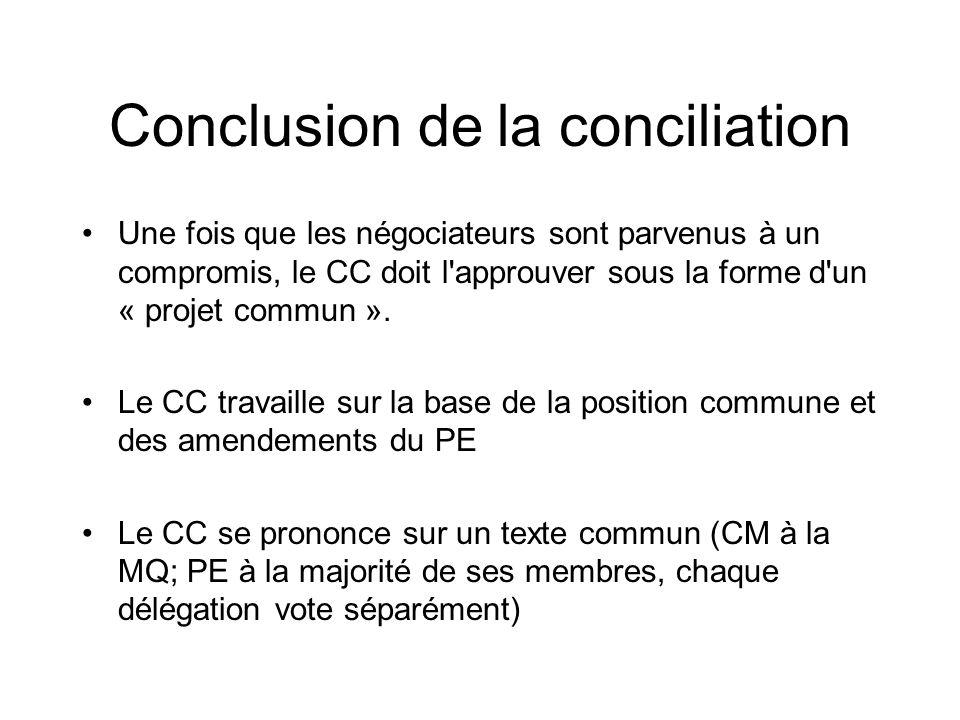 Conclusion de la conciliation Une fois que les négociateurs sont parvenus à un compromis, le CC doit l'approuver sous la forme d'un « projet commun ».