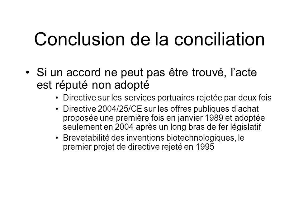 Conclusion de la conciliation Si un accord ne peut pas être trouvé, lacte est réputé non adopté Directive sur les services portuaires rejetée par deux