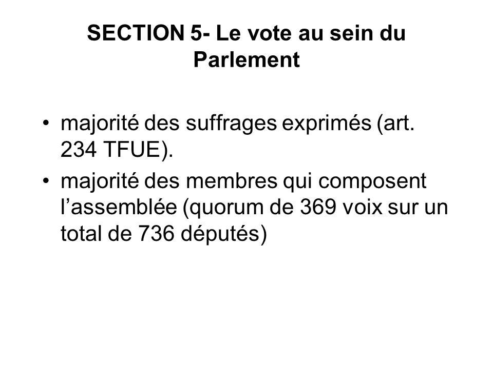 SECTION 5- Le vote au sein du Parlement majorité des suffrages exprimés (art. 234 TFUE). majorité des membres qui composent lassemblée (quorum de 369