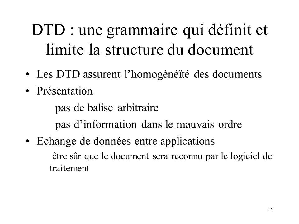 15 DTD : une grammaire qui définit et limite la structure du document Les DTD assurent lhomogénéïté des documents Présentation pas de balise arbitraire pas dinformation dans le mauvais ordre Echange de données entre applications être sûr que le document sera reconnu par le logiciel de traitement