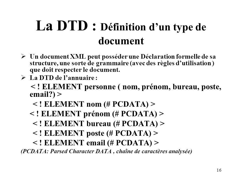 16 La DTD : Définition dun type de document Un document XML peut posséder une Déclaration formelle de sa structure, une sorte de grammaire (avec des règles dutilisation ) que doit respecter le document.