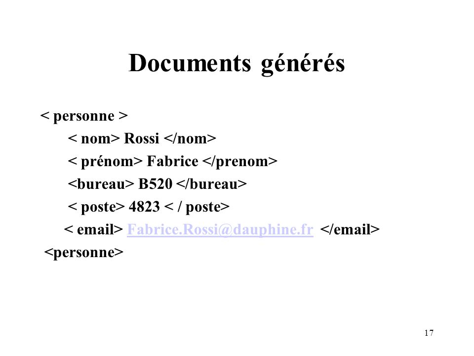 17 Documents générés Rossi Fabrice B520 4823 Fabrice.Rossi@dauphine.fr