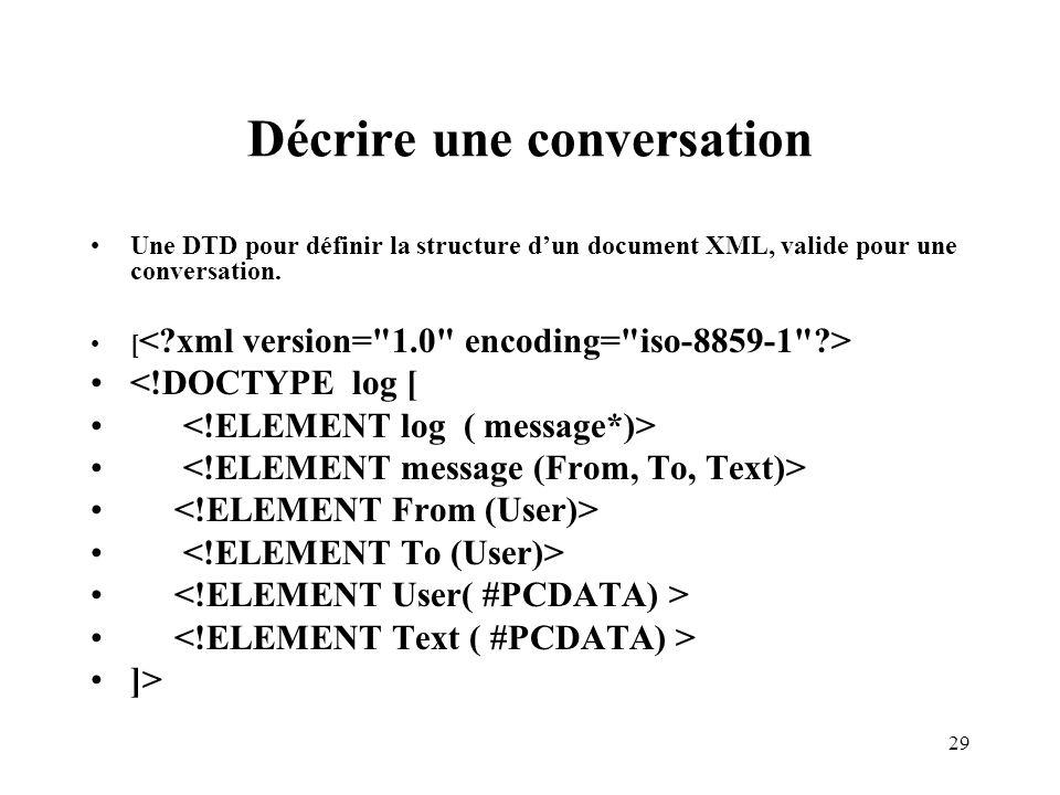 29 Décrire une conversation Une DTD pour définir la structure dun document XML, valide pour une conversation. [ <!DOCTYPE log [ ]>