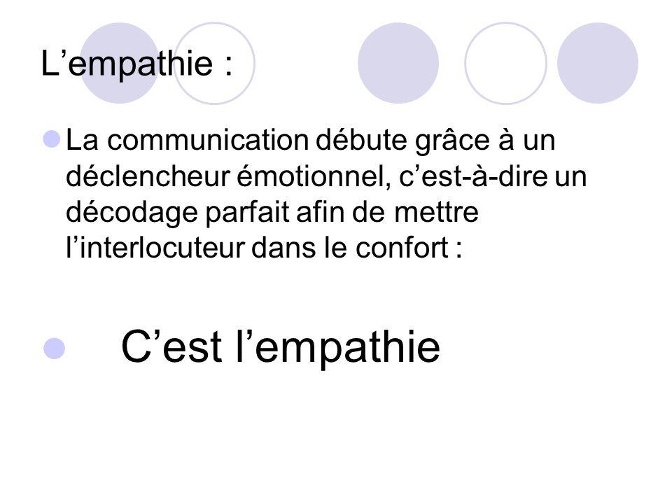 Lempathie : La communication débute grâce à un déclencheur émotionnel, cest-à-dire un décodage parfait afin de mettre linterlocuteur dans le confort :