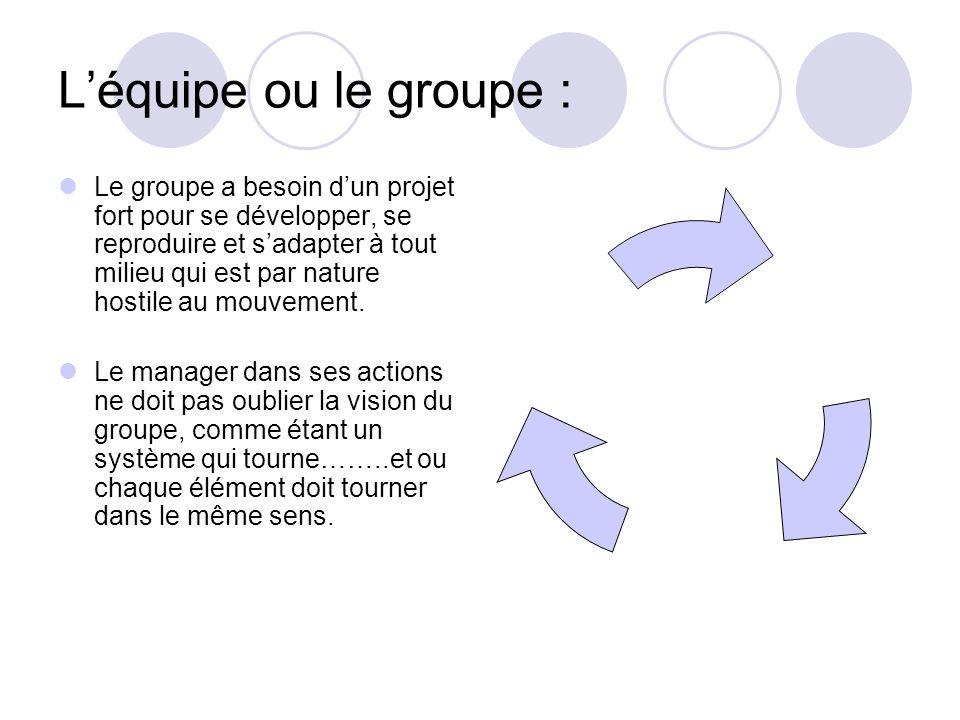 Léquipe ou le groupe : Le groupe a besoin dun projet fort pour se développer, se reproduire et sadapter à tout milieu qui est par nature hostile au mo
