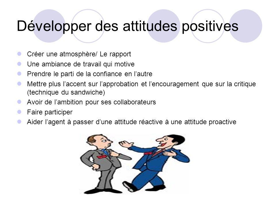 Développer des attitudes positives Créer une atmosphère/ Le rapport Une ambiance de travail qui motive Prendre le parti de la confiance en lautre Mett