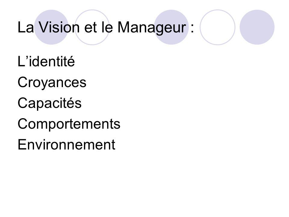 La Vision et le Manageur : Lidentité Croyances Capacités Comportements Environnement