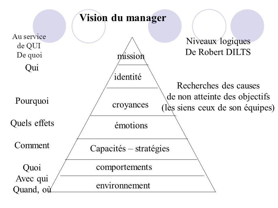 Vision du manager environnement comportements Capacités – stratégies émotions Au service de QUI De quoi croyances identité mission Qui Pourquoi Quels