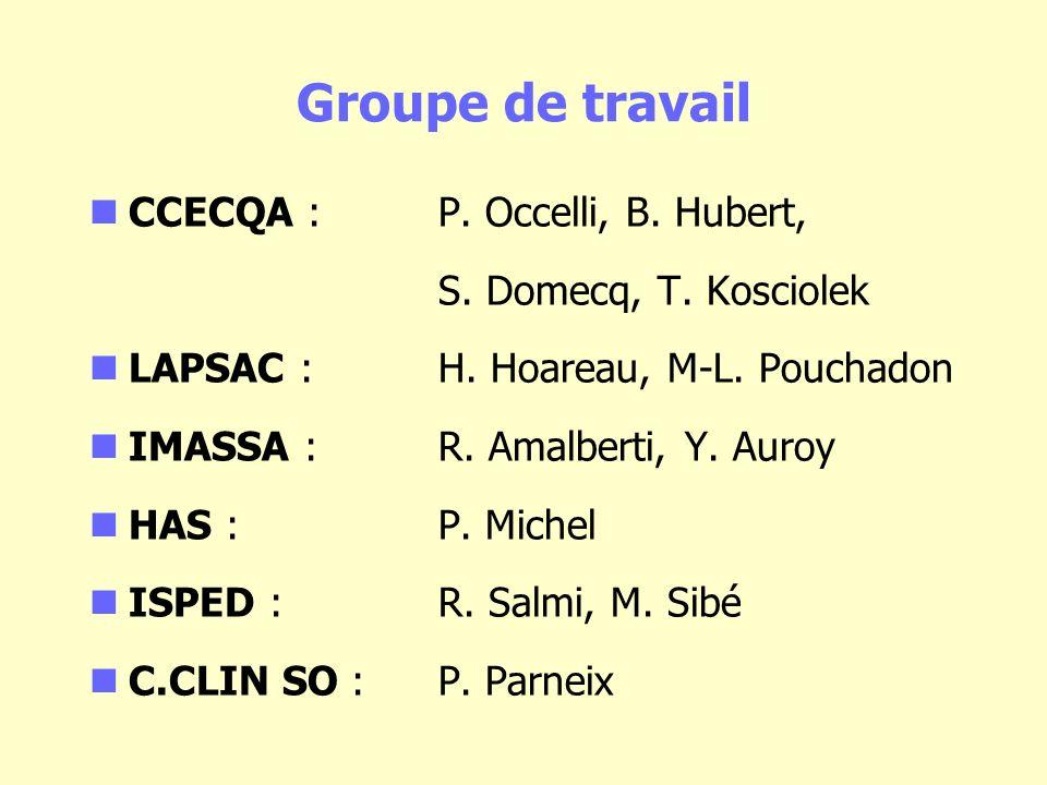 Groupe de travail CCECQA : P. Occelli, B. Hubert, S. Domecq, T. Kosciolek LAPSAC : H. Hoareau, M-L. Pouchadon IMASSA : R. Amalberti, Y. Auroy HAS : P.