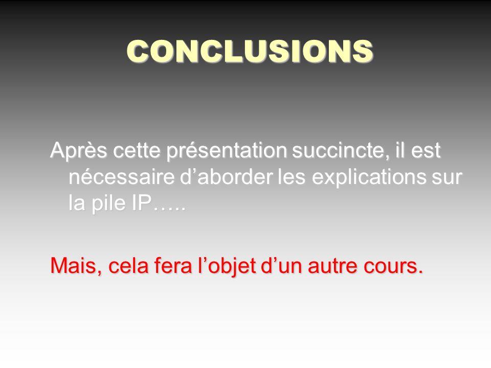 CONCLUSIONS Après cette présentation succincte, il est nécessaire daborder les explications sur la pile IP….. Mais, cela fera lobjet dun autre cours.