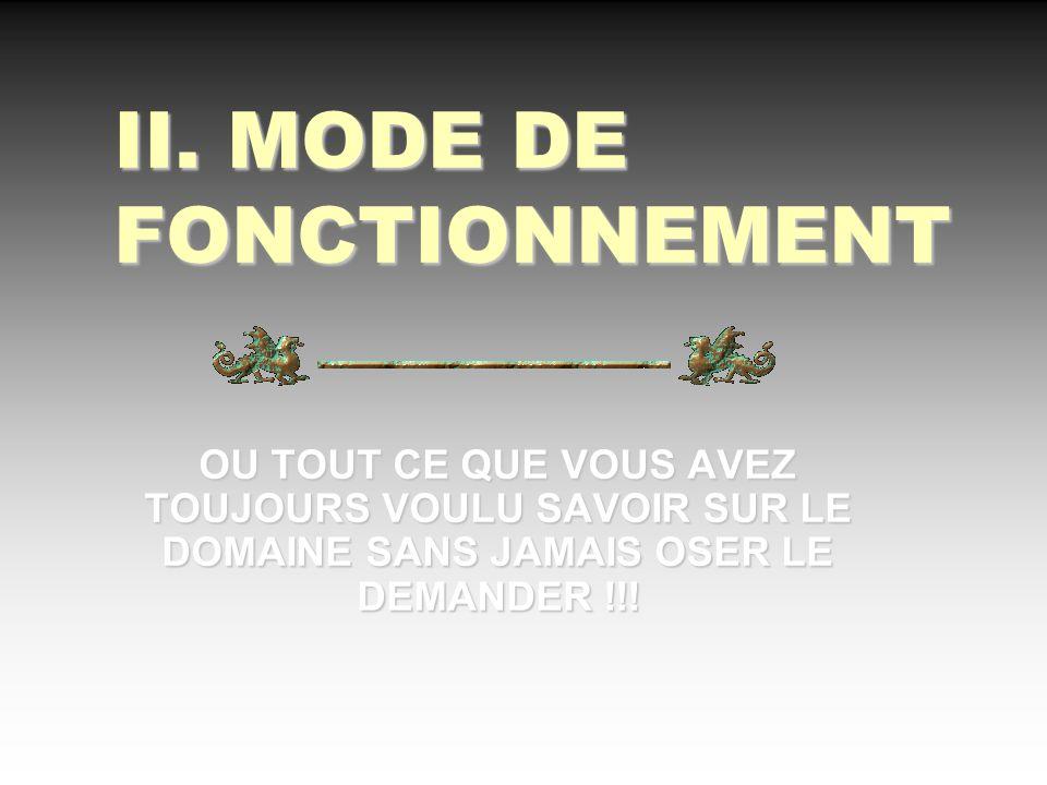 II. MODE DE FONCTIONNEMENT OU TOUT CE QUE VOUS AVEZ TOUJOURS VOULU SAVOIR SUR LE DOMAINE SANS JAMAIS OSER LE DEMANDER !!!