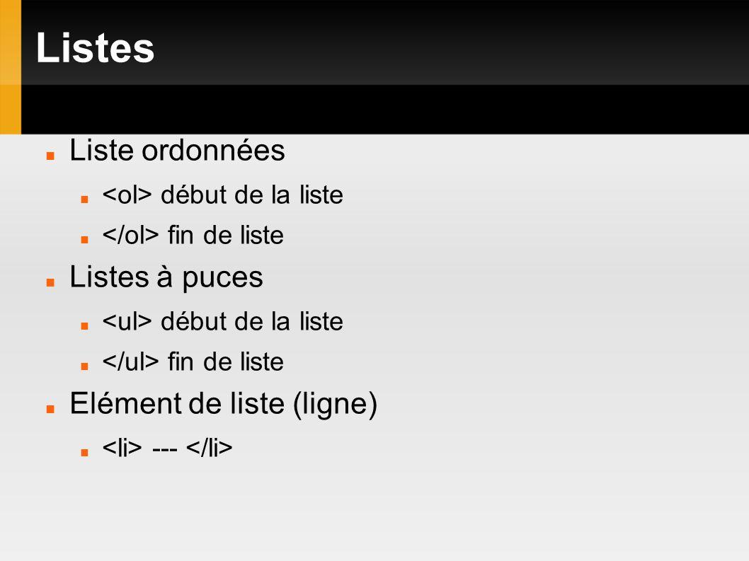 Listes Liste ordonnées début de la liste fin de liste Listes à puces début de la liste fin de liste Elément de liste (ligne) ---