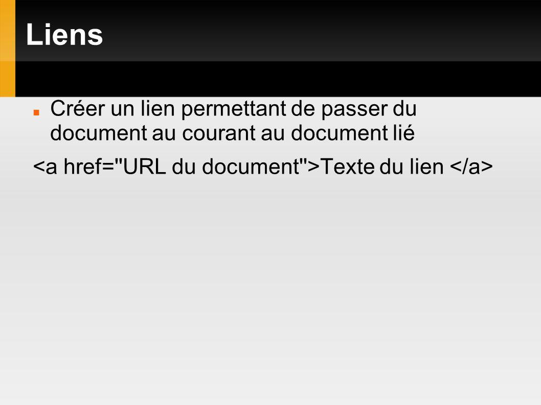 Liens Créer un lien permettant de passer du document au courant au document lié Texte du lien