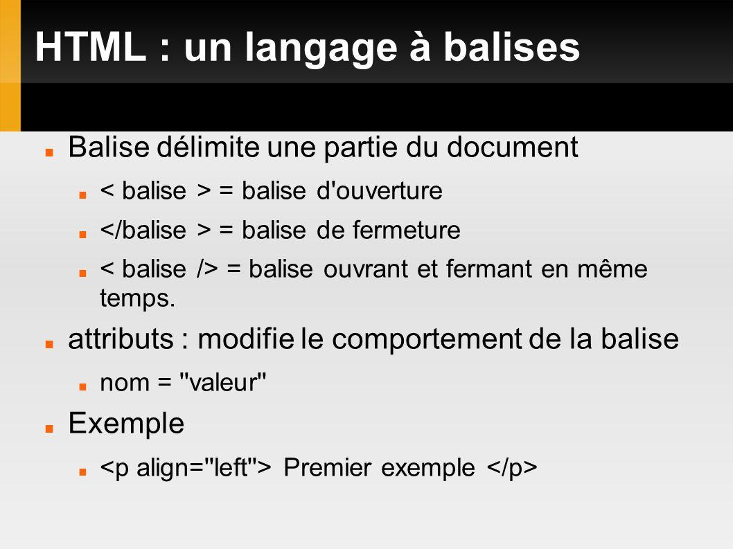 HTML : un langage à balises Balise délimite une partie du document = balise d'ouverture = balise de fermeture = balise ouvrant et fermant en même temp