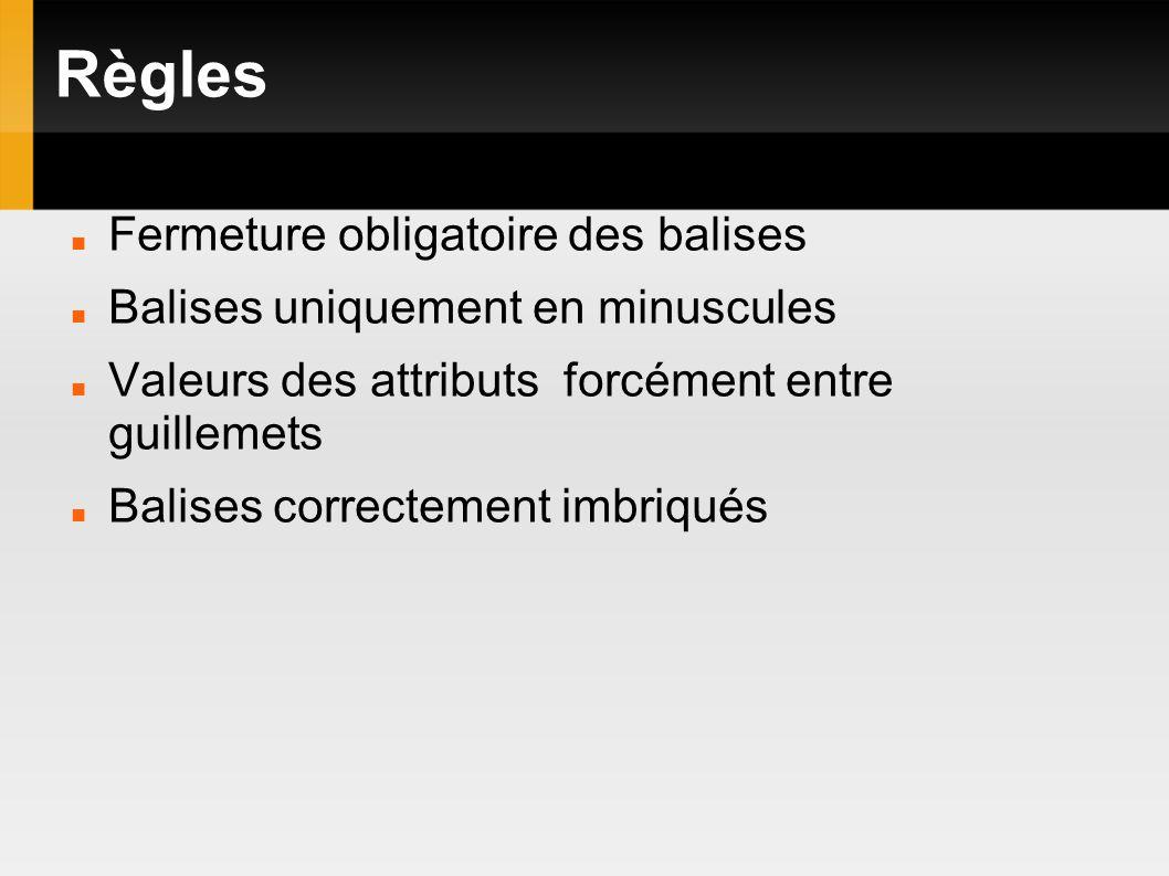 Règles Fermeture obligatoire des balises Balises uniquement en minuscules Valeurs des attributs forcément entre guillemets Balises correctement imbriqués