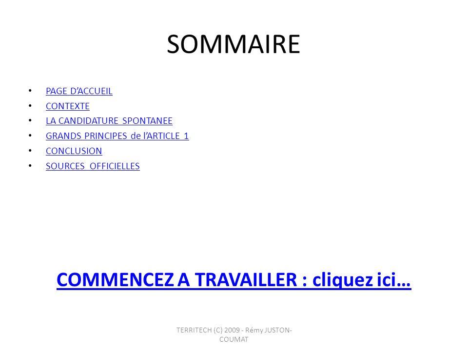 SOMMAIRE PAGE DACCUEIL CONTEXTE LA CANDIDATURE SPONTANEE GRANDS PRINCIPES de lARTICLE 1 CONCLUSION SOURCES OFFICIELLES COMMENCEZ A TRAVAILLER : clique