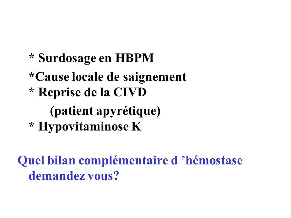 * Surdosage en HBPM *Cause locale de saignement * Reprise de la CIVD (patient apyrétique) * Hypovitaminose K Quel bilan complémentaire d hémostase dem