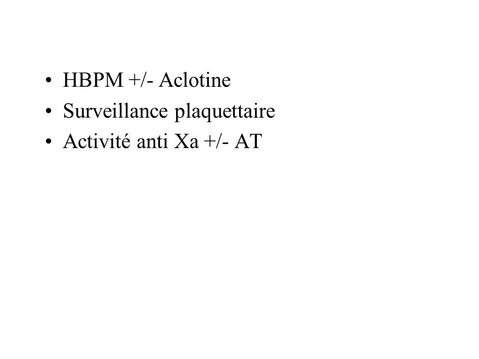 HBPM +/- Aclotine Surveillance plaquettaire Activité anti Xa +/- AT