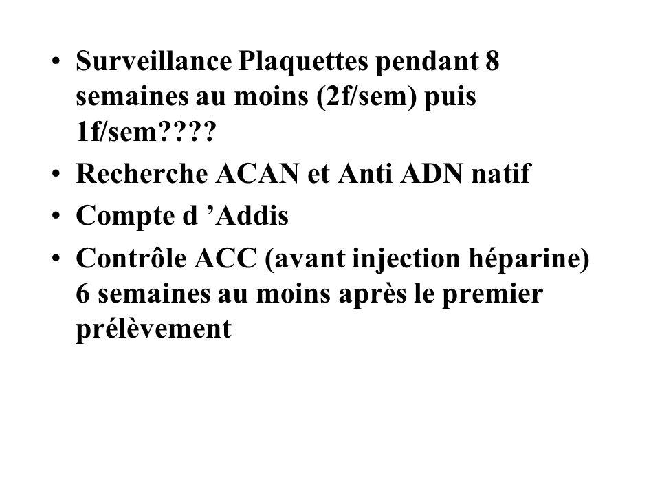Surveillance Plaquettes pendant 8 semaines au moins (2f/sem) puis 1f/sem???? Recherche ACAN et Anti ADN natif Compte d Addis Contrôle ACC (avant injec