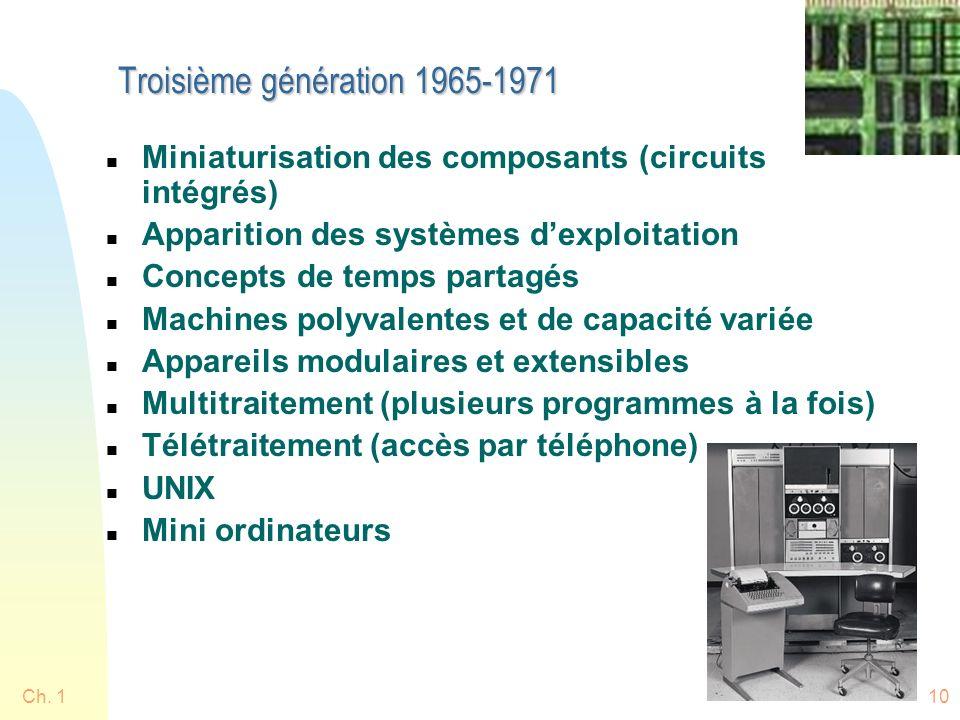 Ch. 110 Troisième génération 1965-1971 n Miniaturisation des composants (circuits intégrés) n Apparition des systèmes dexploitation n Concepts de temp