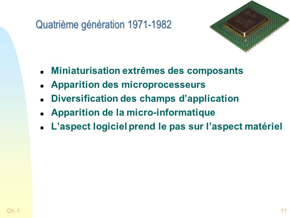 Ch. 111 Quatrième génération 1971-1982 n Miniaturisation extrêmes des composants n Apparition des microprocesseurs n Diversification des champs dappli