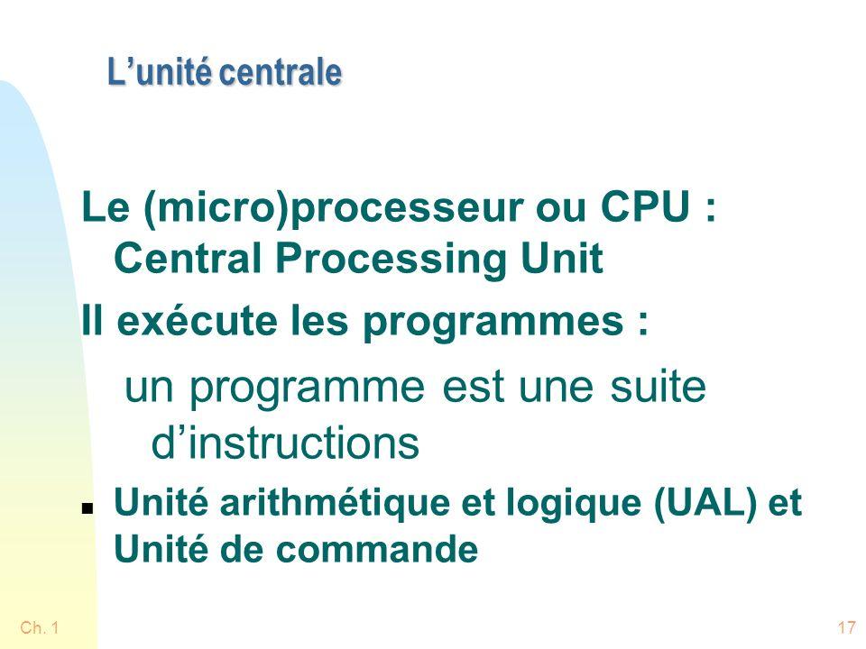 Ch. 117 Lunité centrale Le (micro)processeur ou CPU : Central Processing Unit Il exécute les programmes : un programme est une suite dinstructions n U
