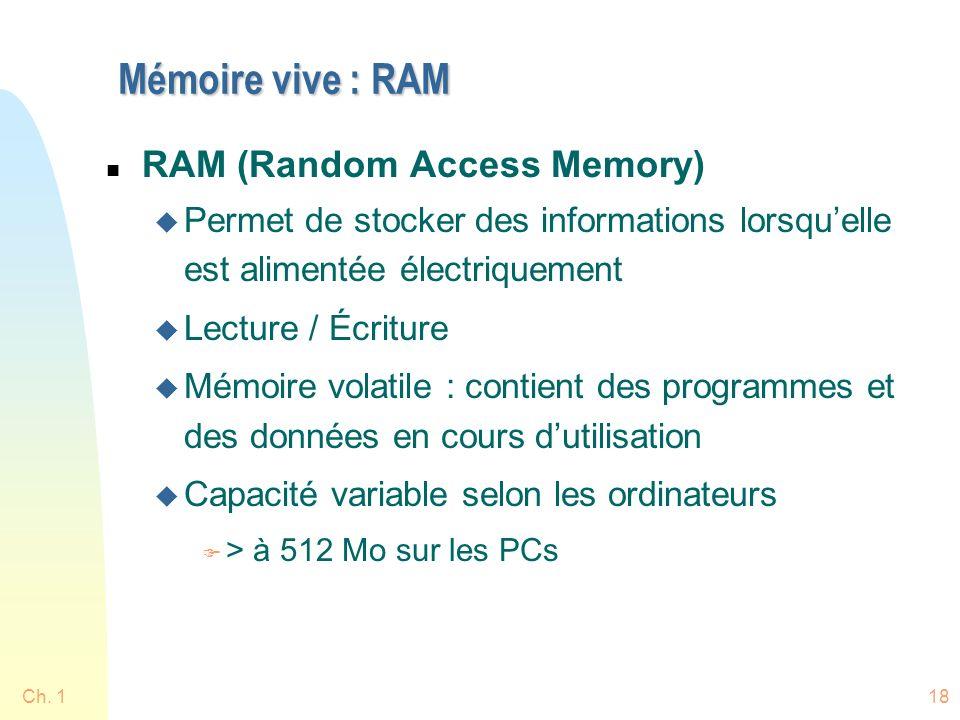 Ch. 118 Mémoire vive : RAM n RAM (Random Access Memory) u Permet de stocker des informations lorsquelle est alimentée électriquement u Lecture / Écrit