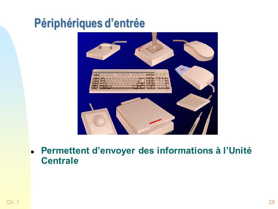 Ch. 126 Périphériques dentrée n Permettent denvoyer des informations à lUnité Centrale