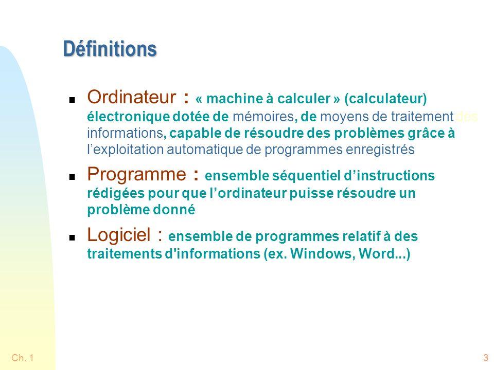Ch. 13 Définitions n Ordinateur : « machine à calculer » (calculateur) électronique dotée de mémoires, de moyens de traitement des informations, capab