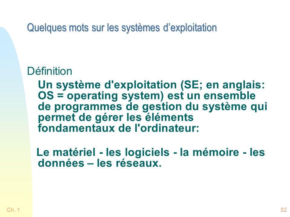 Ch. 132 Quelques mots sur les systèmes dexploitation Définition Un système d'exploitation (SE; en anglais: OS = operating system) est un ensemble de p