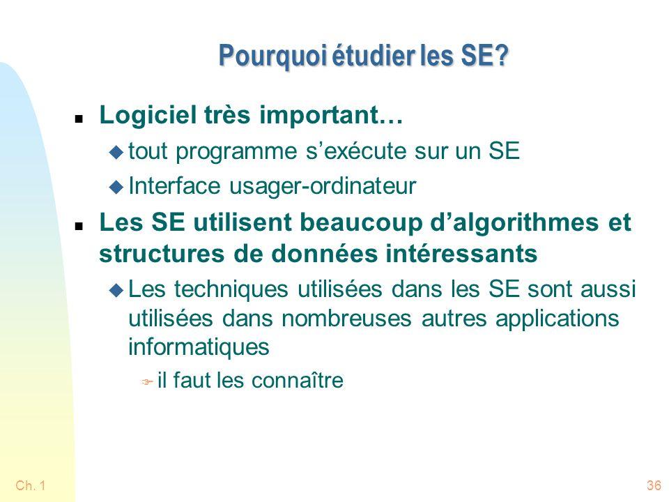 Ch. 136 Pourquoi étudier les SE? n Logiciel très important… u tout programme sexécute sur un SE u Interface usager-ordinateur n Les SE utilisent beauc