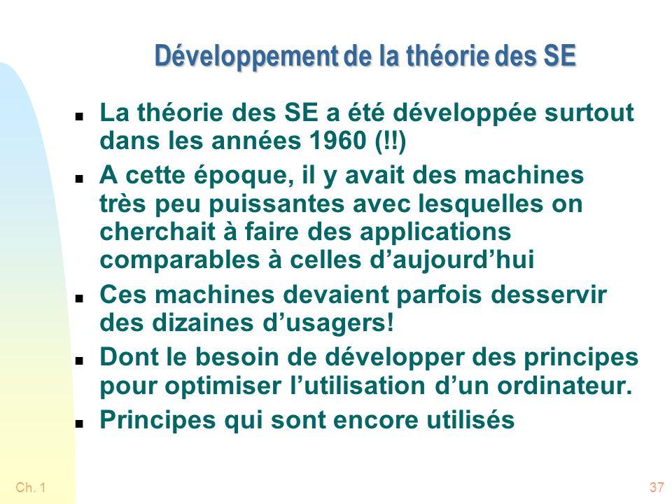 Ch. 137 Développement de la théorie des SE n La théorie des SE a été développée surtout dans les années 1960 (!!) n A cette époque, il y avait des mac