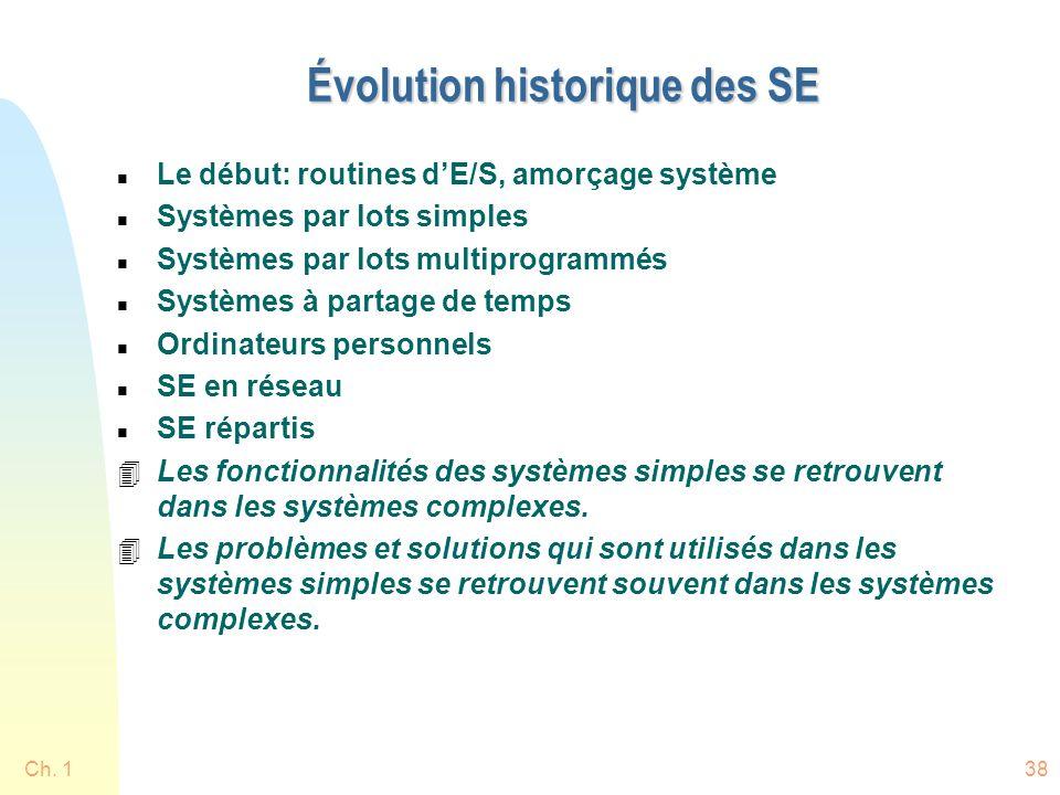 Ch. 138 Évolution historique des SE n Le début: routines dE/S, amorçage système n Systèmes par lots simples n Systèmes par lots multiprogrammés n Syst