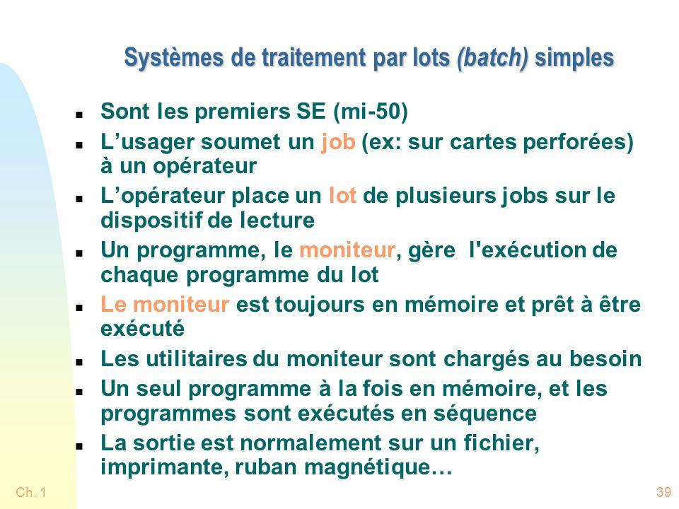 Ch. 139 Systèmes de traitement par lots (batch) simples n Sont les premiers SE (mi-50) n Lusager soumet un job (ex: sur cartes perforées) à un opérate