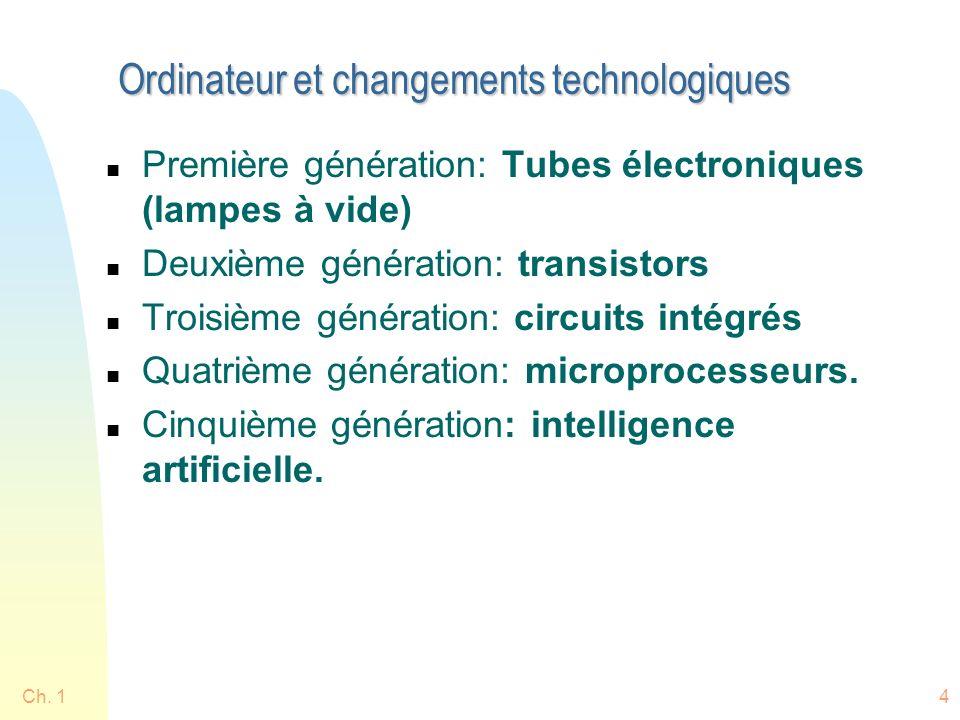 Ch. 14 Ordinateur et changements technologiques n Première génération: Tubes électroniques (lampes à vide) n Deuxième génération: transistors n Troisi