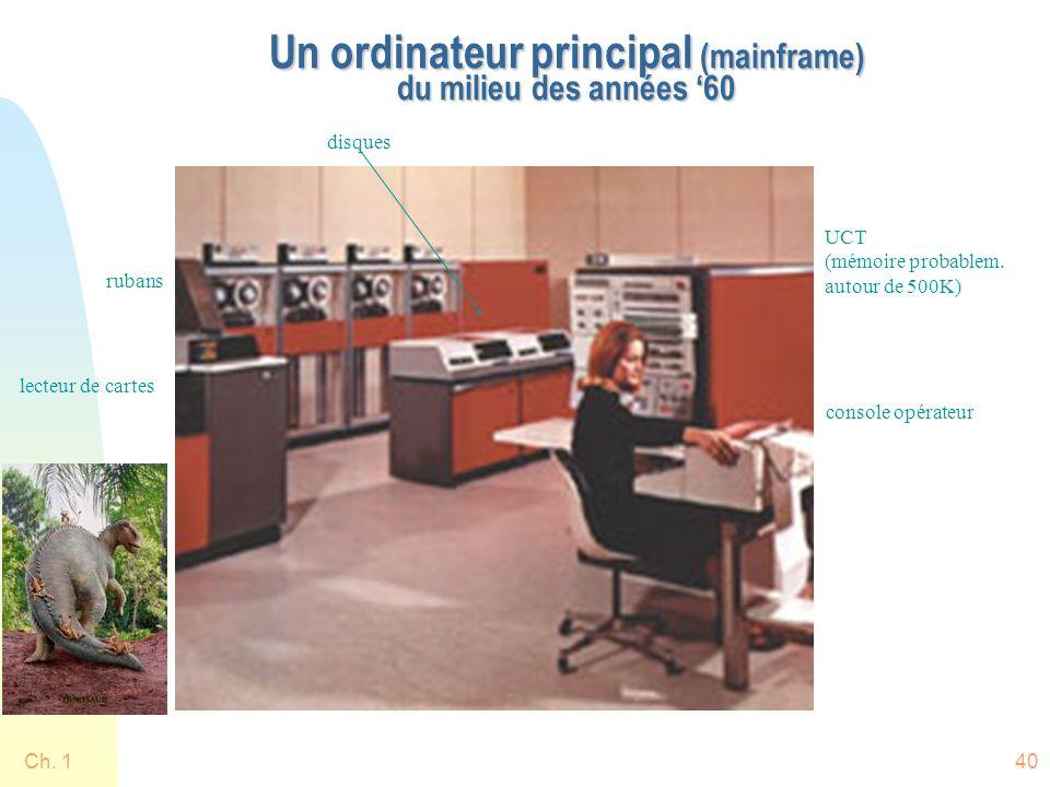 Ch. 140 Un ordinateur principal (mainframe) du milieu des années 60 lecteur de cartes rubans disques UCT (mémoire probablem. autour de 500K) console o