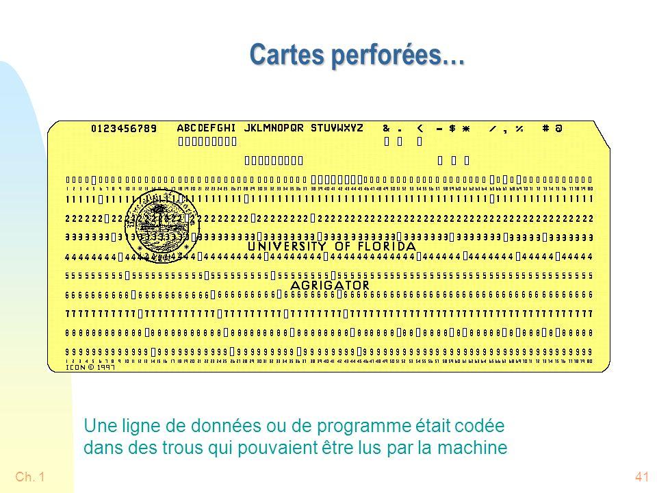 Ch. 141 Cartes perforées… Une ligne de données ou de programme était codée dans des trous qui pouvaient être lus par la machine