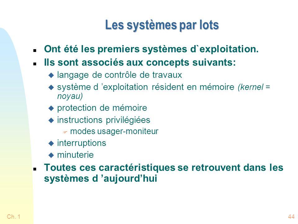 Ch. 144 Les systèmes par lots n Ont été les premiers systèmes d`exploitation. n Ils sont associés aux concepts suivants: u langage de contrôle de trav