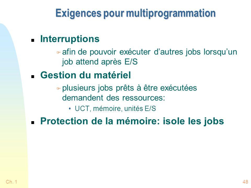 Ch. 148 Exigences pour multiprogrammation n Interruptions F afin de pouvoir exécuter dautres jobs lorsquun job attend après E/S n Gestion du matériel