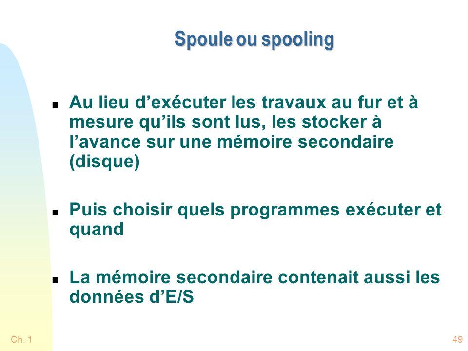 Ch. 149 Spoule ou spooling n Au lieu dexécuter les travaux au fur et à mesure quils sont lus, les stocker à lavance sur une mémoire secondaire (disque