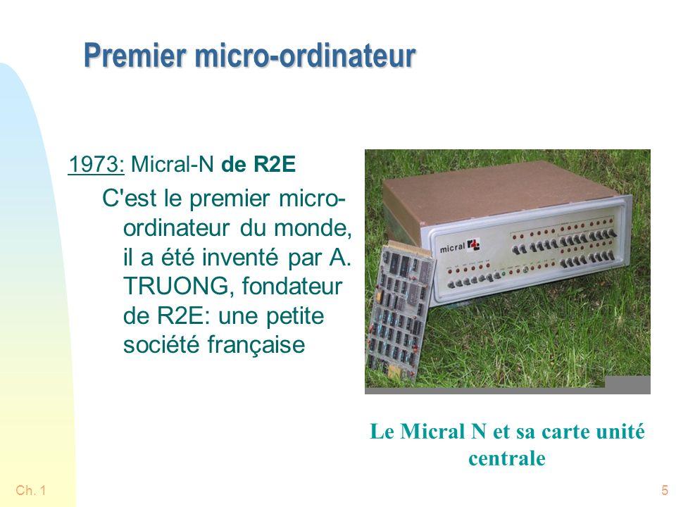 Ch. 15 Premier micro-ordinateur 1973: Micral-N de R2E C'est le premier micro- ordinateur du monde, il a été inventé par A. TRUONG, fondateur de R2E: u