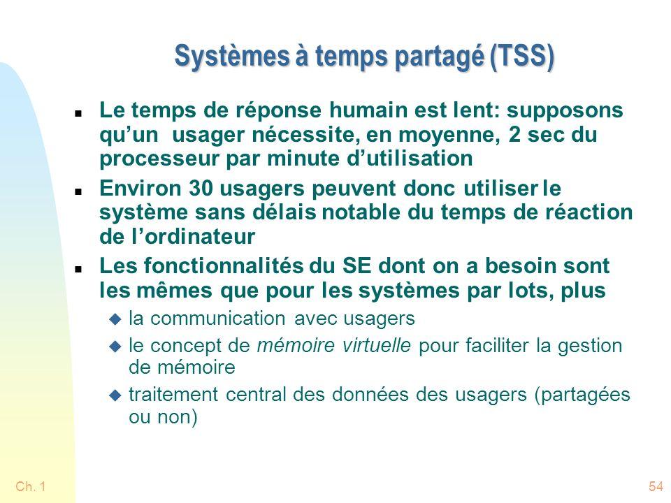 Ch. 154 Systèmes à temps partagé (TSS) n Le temps de réponse humain est lent: supposons quun usager nécessite, en moyenne, 2 sec du processeur par min