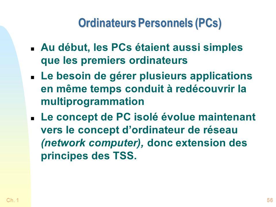 Ch. 156 Ordinateurs Personnels (PCs) n Au début, les PCs étaient aussi simples que les premiers ordinateurs n Le besoin de gérer plusieurs application